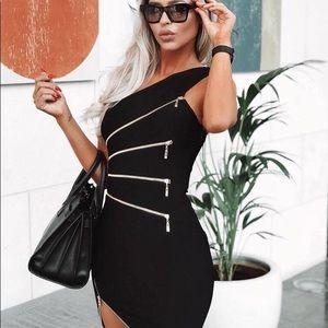 Zippered One Shoulder Bandage Dress